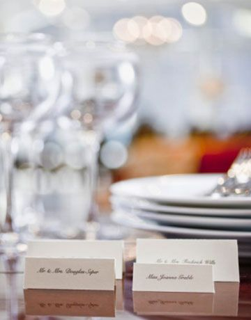 "Write on Both Sides of Place Cards      ""Make sure place cards have first and last names, written legibly, on both sides, so guests know the names of people sitting opposite.""    —Cameron Silver, vintage shop owner"