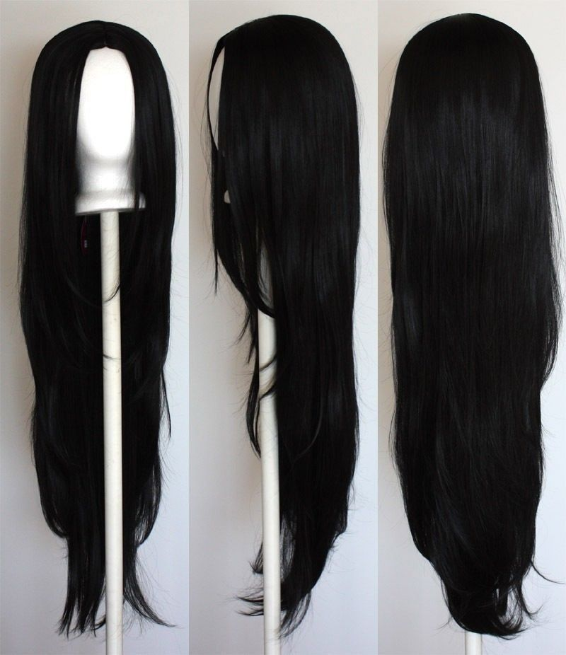 Long Straight With No Bangs Black Cosplay Wig Ebay Black Hair Wigs Wigs Cosplay Wigs