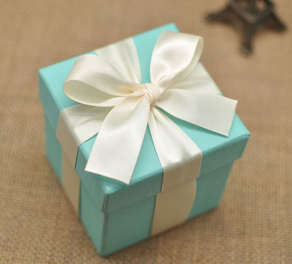 Tiffany Blue Wedding Favor Candy Box With Ivory Ribbon Bow Diy Party Paper
