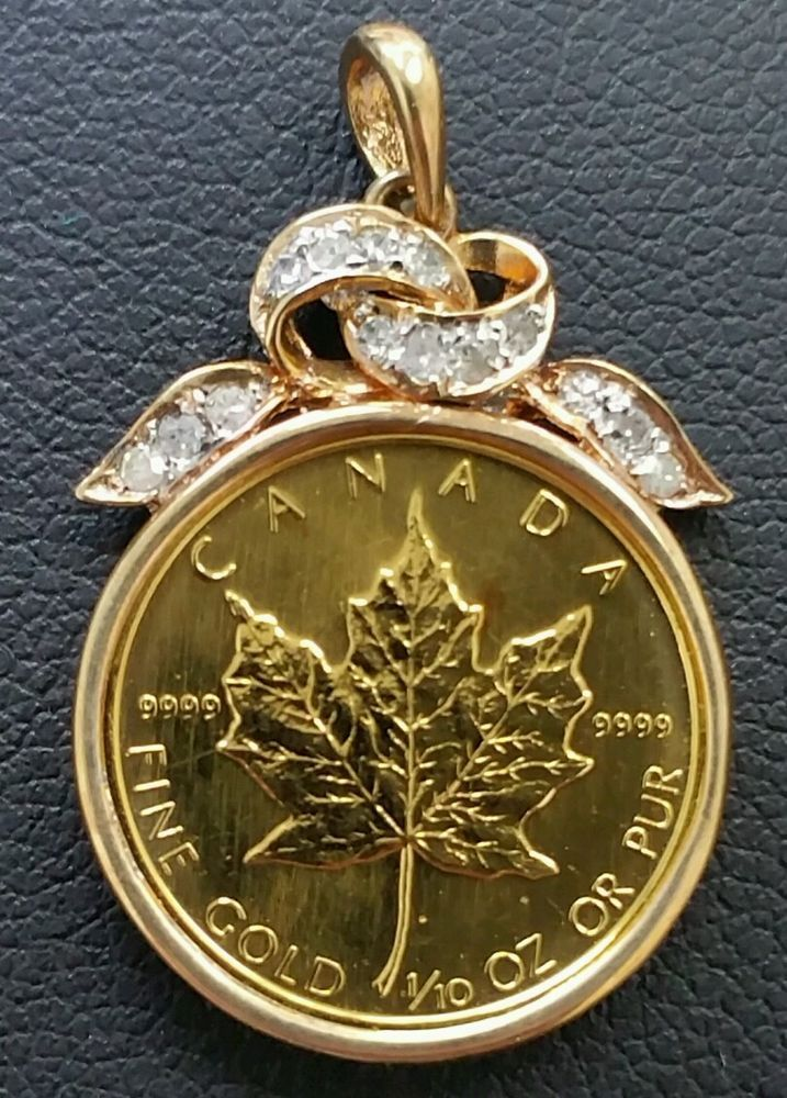Beautiful 1989 5 Dollar 1 10 Pure Gold Canadian Maple Leaf Diamond Pendant Gold Coin Jewelry Gold Pendant Jewelry Coin Jewelry