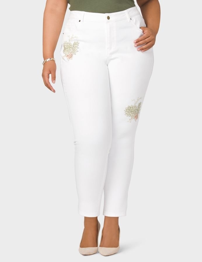 6d1d69e9a2f65 dressbarn Plus Size Signature Fit Embroidered Ankle Jeans