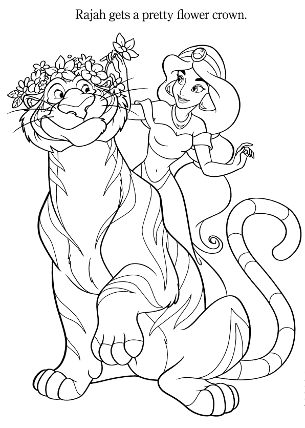 Aladdin And Jasmine Colouring Pages Spring Edition Disney