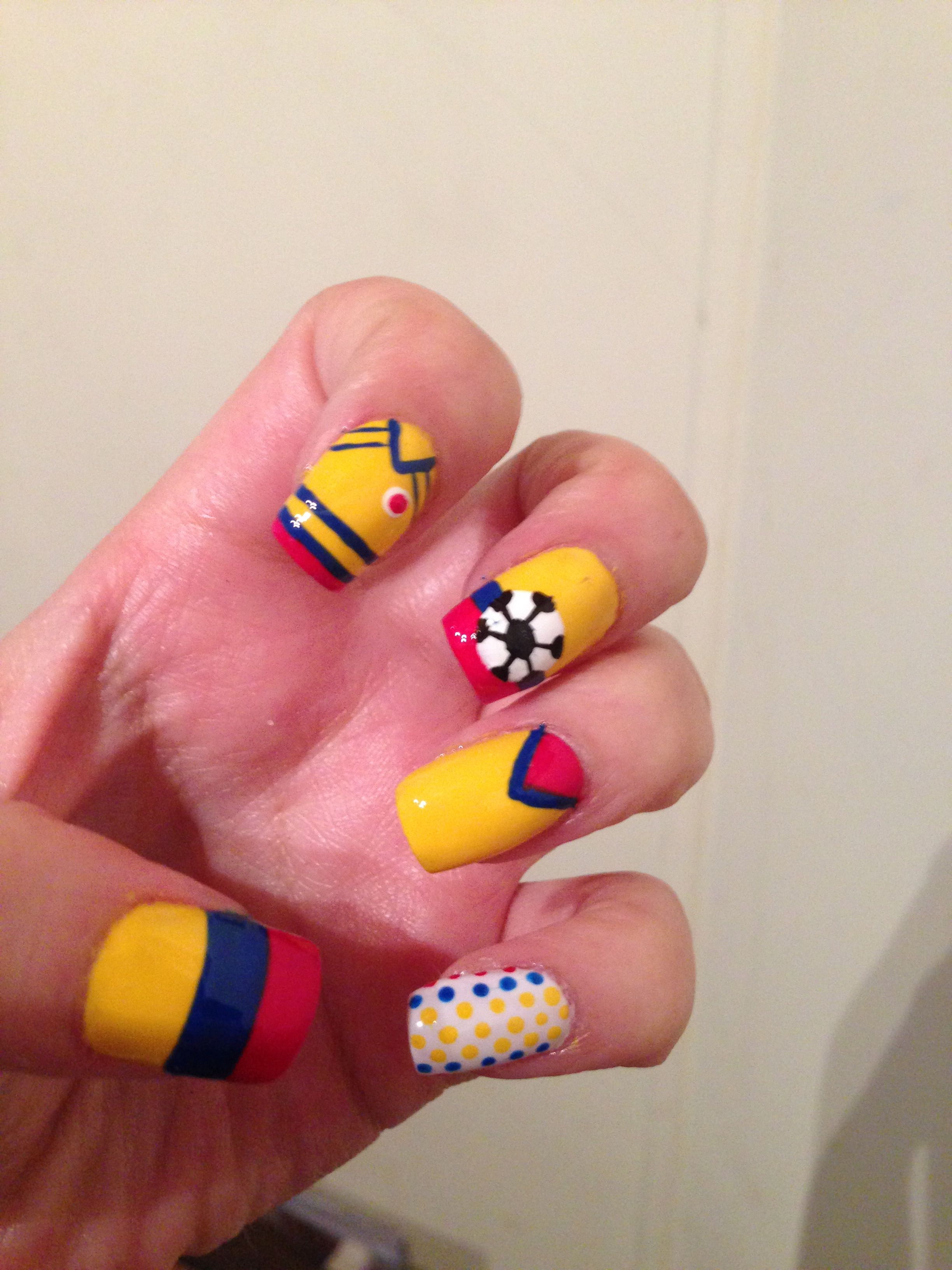 Colombia nails | Nail Polish | Pinterest | Colombia, Yellow nails ...