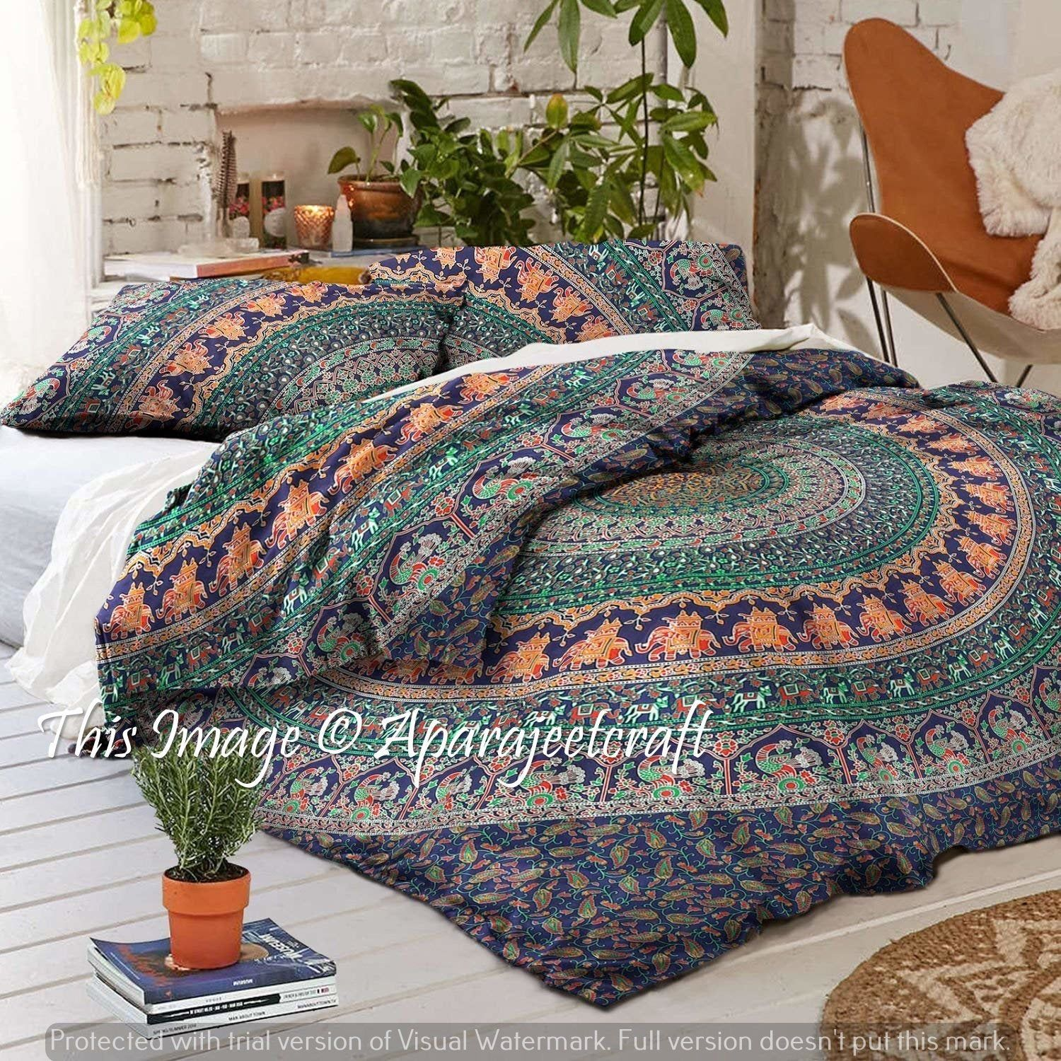 Queen Size Bed Cover Indian Mandala Tapestry Hippie Bohemian Bedding Set Throw