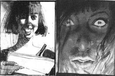 "art from ""big numbers"" an unfinished work written by alan moore and drawn by bill sienkiewicz."
