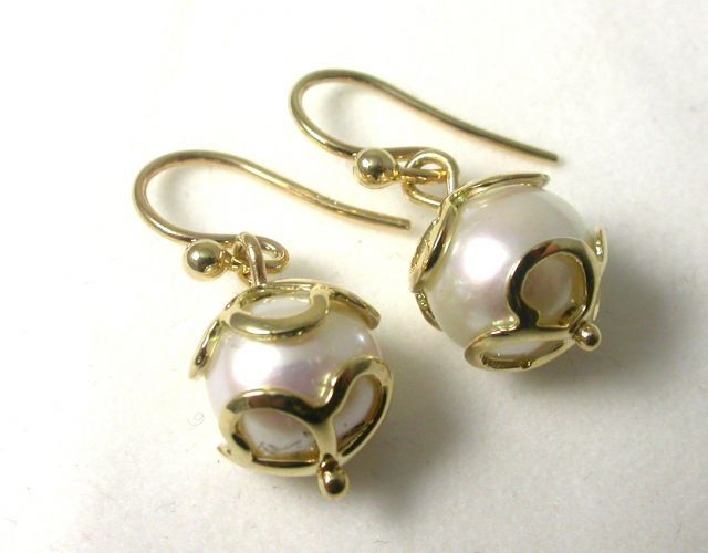 """Pear Drops"" #Earrings.   'Caged' Fresh Water #Pearl drop earrings set with 9ct Yellow #Gold.  $375"