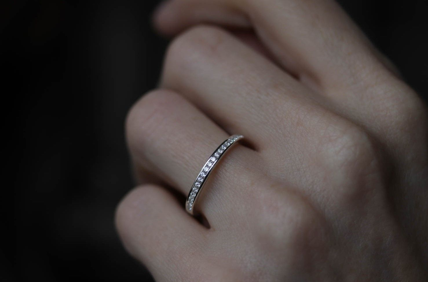 Channel Set Half Eternity Style Band Channel Set Wedding Band Minimal Wedding Band Stacked Wedding Bands