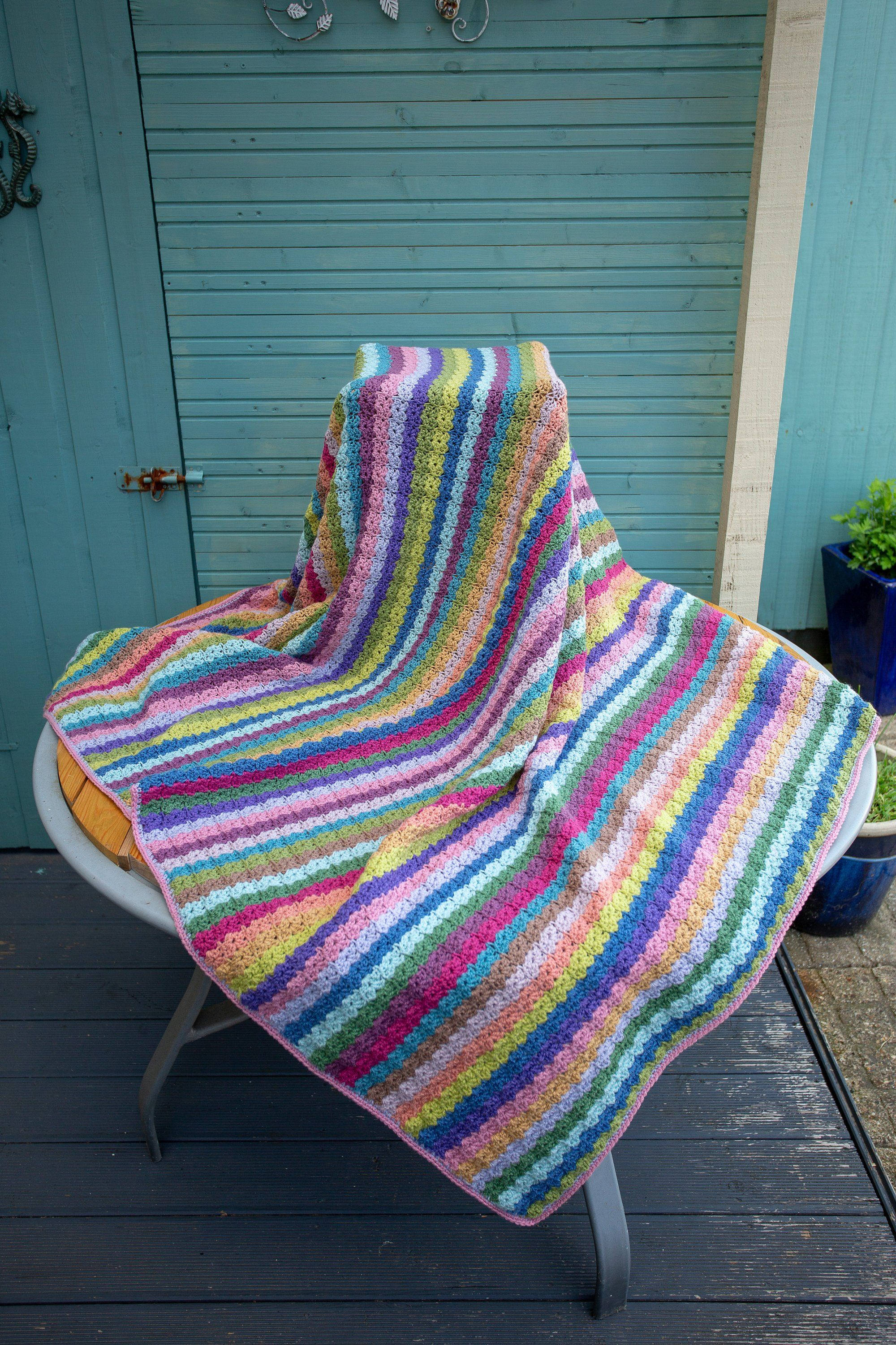Sofa Throws Retro Crochet Blanket Throw Retro Vintage Colours Hand Crafted Large