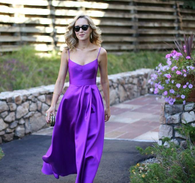 C Black Halo Purple Orchid Karlowe Gown Asymettrical High Low Satin Spaghetti Strap Dress Wedding Guest