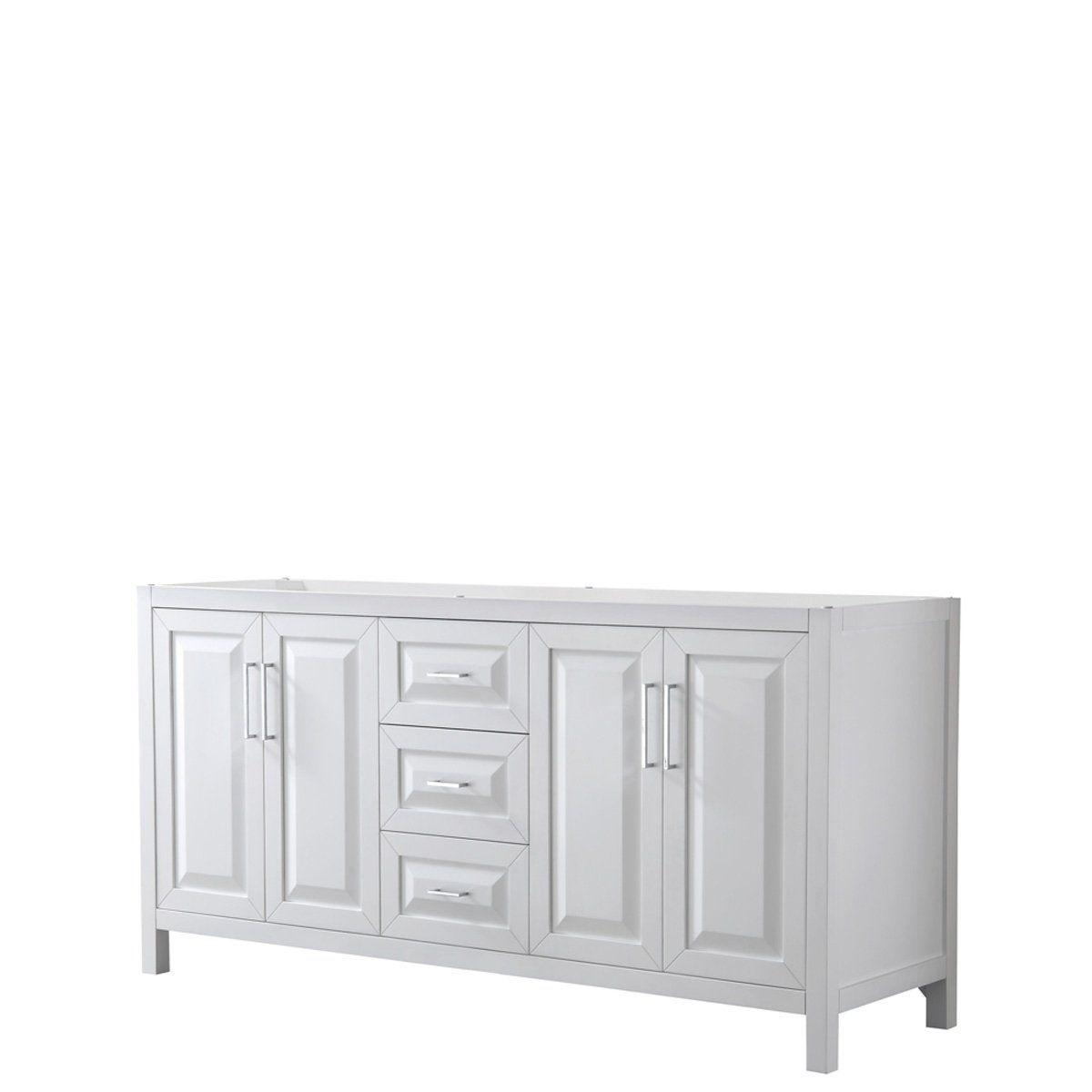 Daria 72 Inch Double Vanity In White No Top No Mirror Wyndham