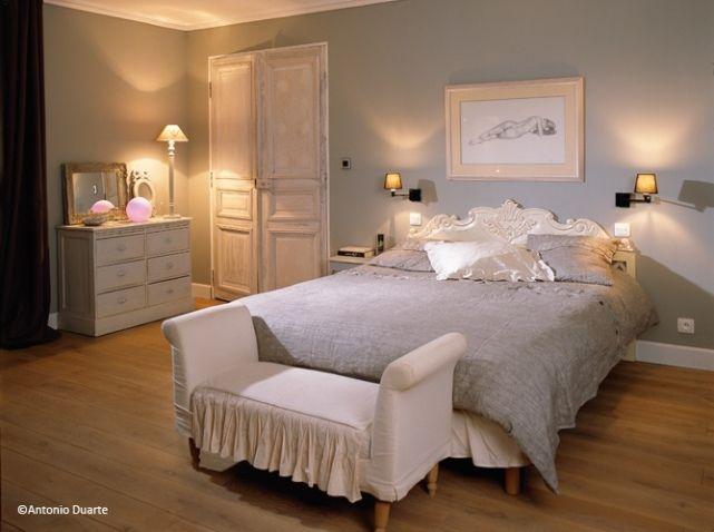 idée déco chambre adulte ton gris | Chambre romantique, Romantique ...