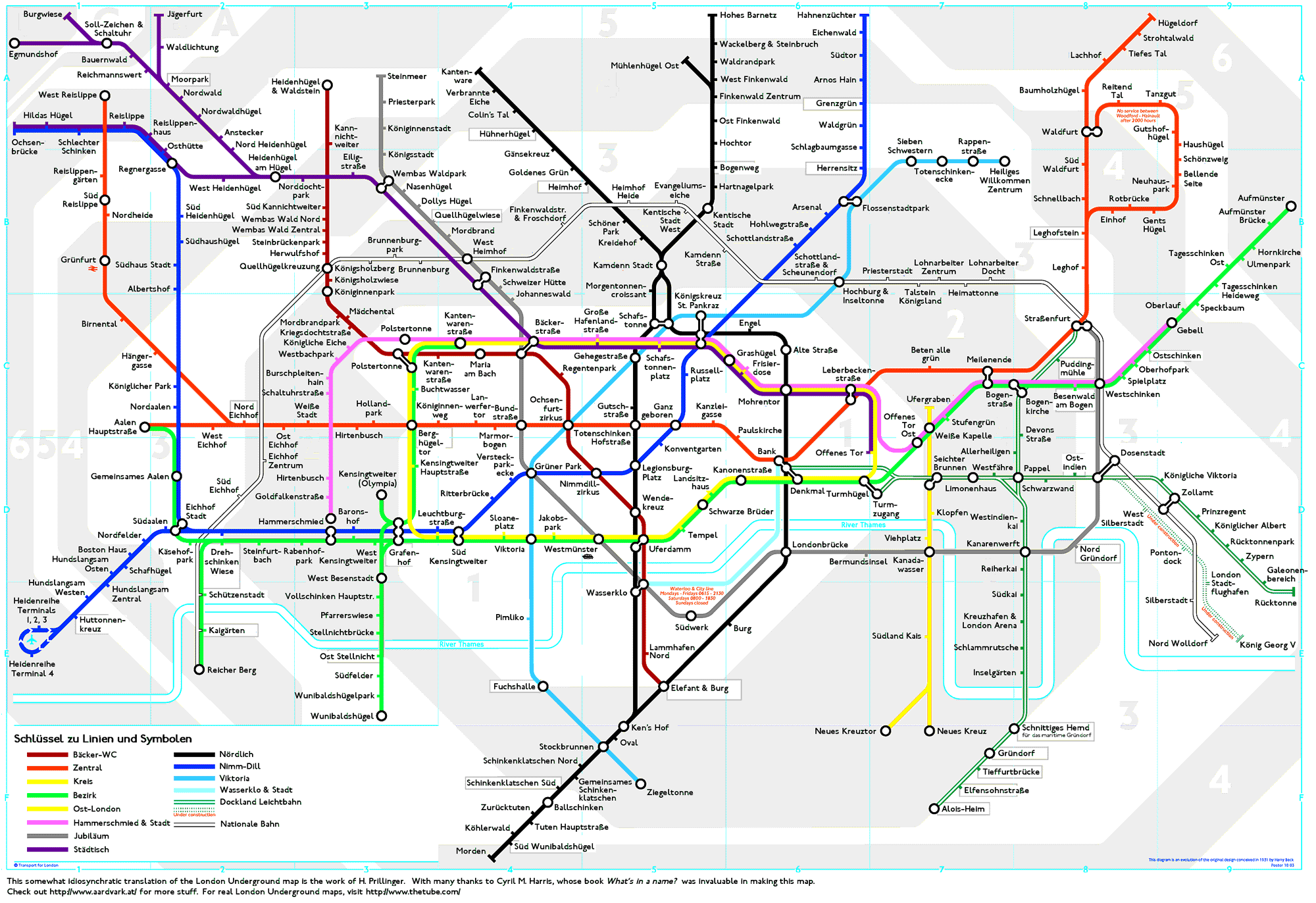 London Underground Map translated into German ©2004 Horst Prillinger. All rights reserved. Commercial use prohibited.