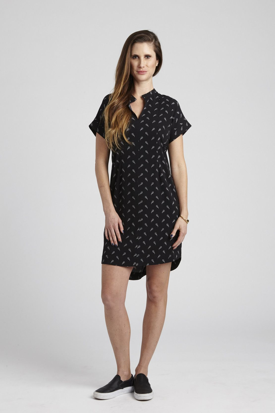 65ed581a13643 The Cybelle in Black Arrowhead is a Pocketed Short Sleeve Shirtdress (yes, a  dress!) She takes the basic design cues from Carrie, our Pocketed Short  Sleeve ...