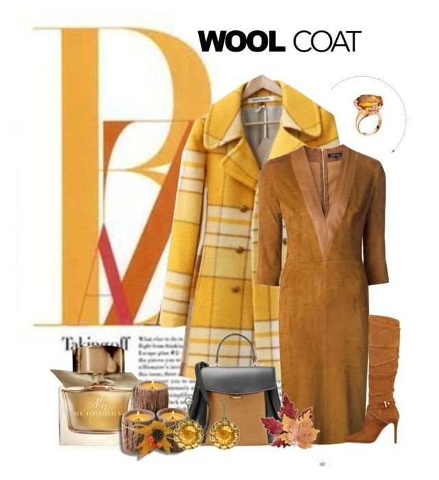 """""""Wool Coat"""" by srogers844 ❤ liked on Polyvore featuring Jitrois, GUESS, Nina Ricci, Burberry, Color My Life, Bulgari, Croft & Barrow and woolcoat"""