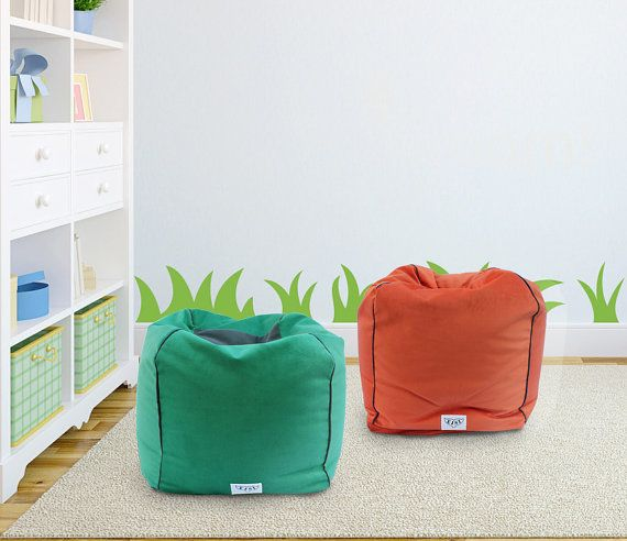 Kids Colorful Poufs Ottoman Bean Bag Chairs Soft Fabric Cover Insert