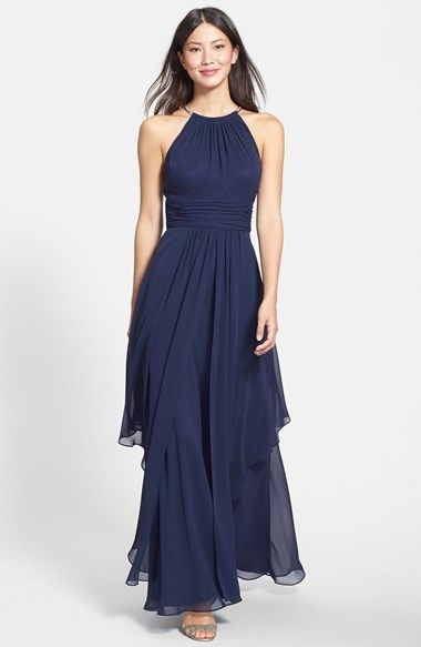 e782acedb9e7 Free shipping and returns on Eliza J Chiffon Halter Gown at Nordstrom.com.  A choker-threaded halter neckline adds a flash of modern metallic sheen to  a long ...