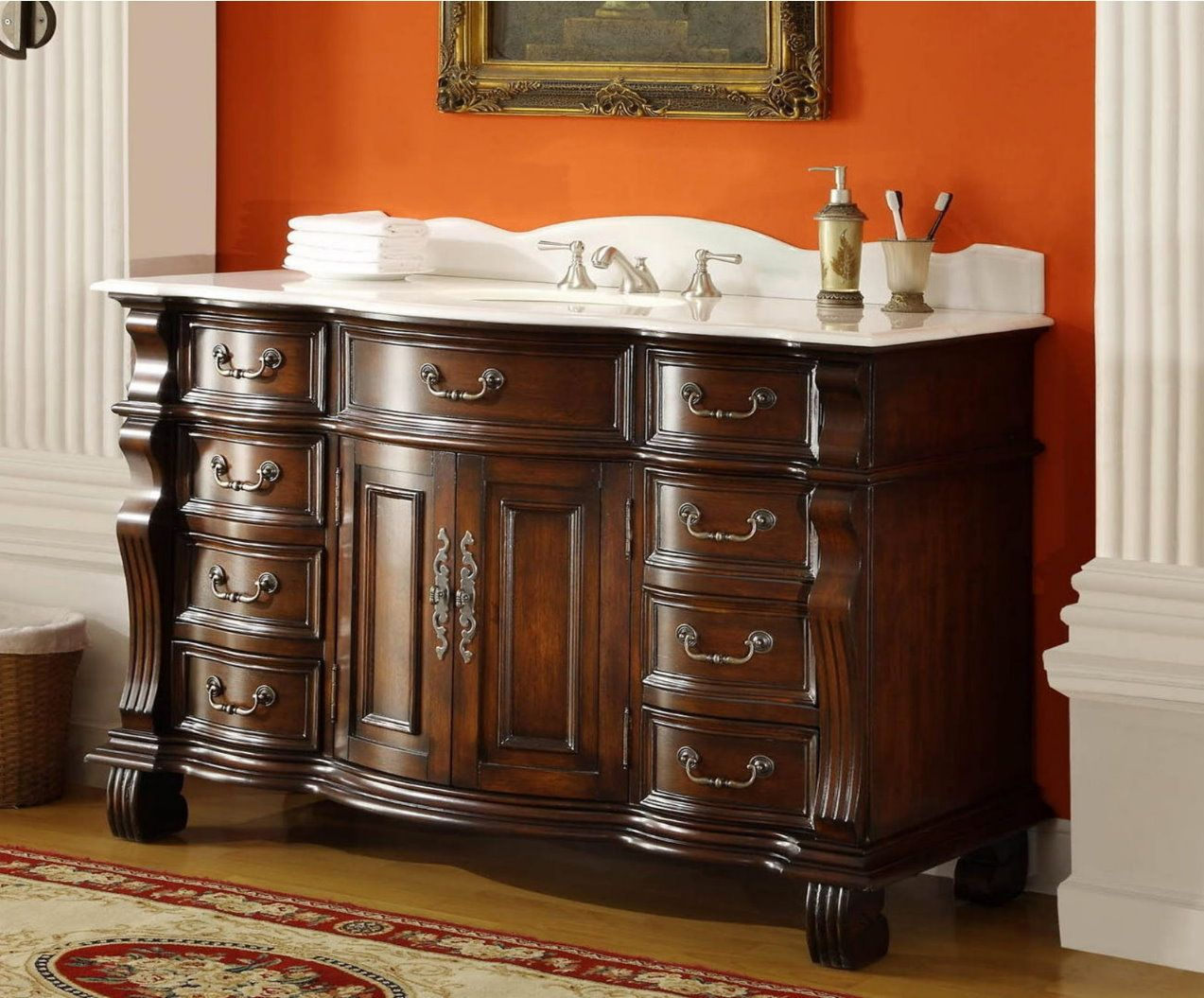 Old World Hopkinton Bathroom Sink Vanity Cabinet — Dimensions: 60 x 22 x  approx. This single sink vanity will be the keystone of your master bath. - A New Edition To A Classic Style Bathroom, The Beautiful Adelina