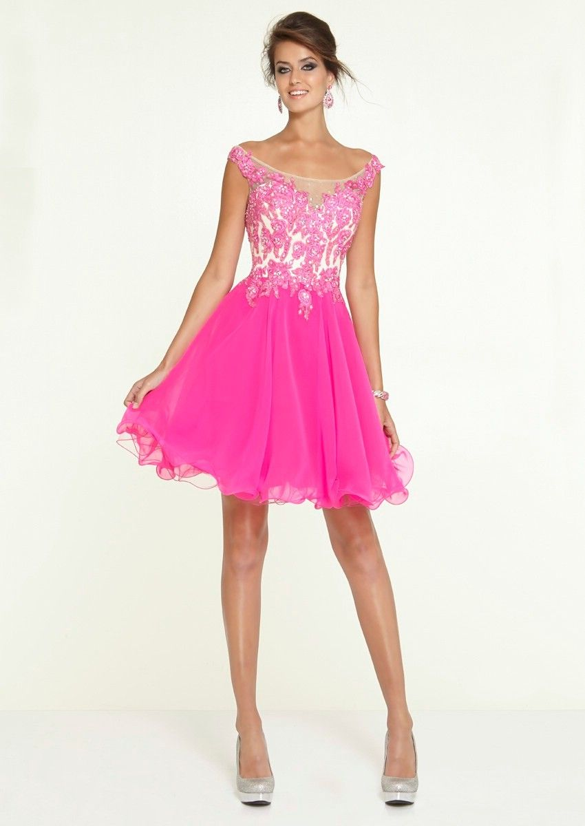 Wishesbridal attractive bateau neck short hot pink homecoming dress