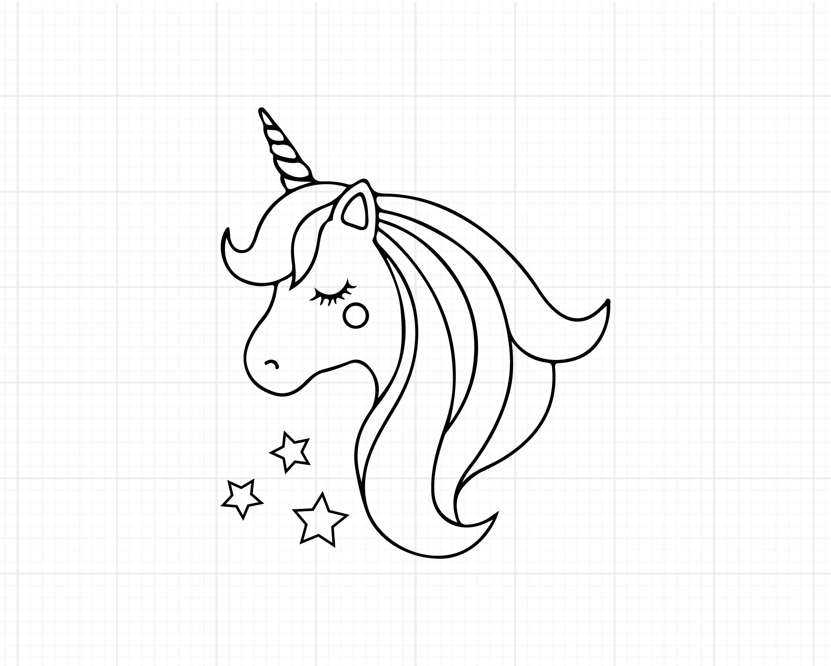 SVG Eps Unicorn Drawing Vector Clipart Set  Outline /& Silhouette Drawing Illustrations  Fantasy  PNG JPG