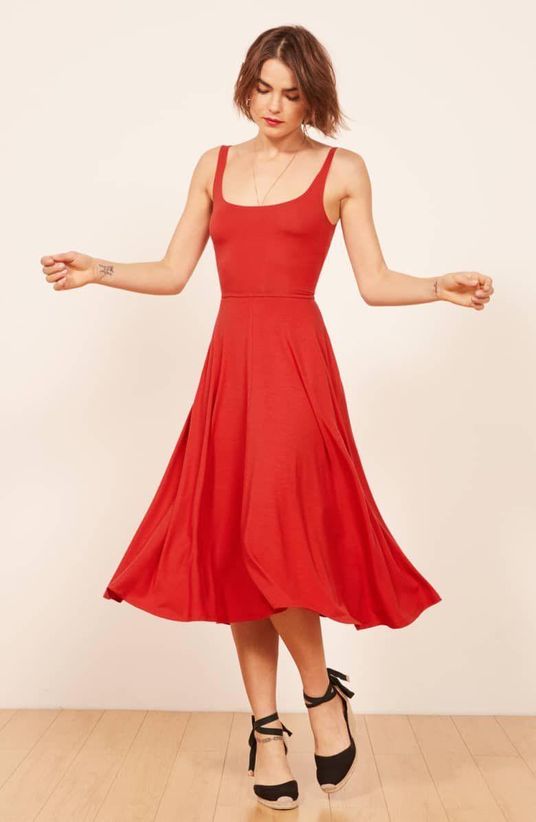 Reformation Rou Midi Fit Flare Dress Nordstrom Flare Dress Dresses Reformation Dress [ 1196 x 780 Pixel ]