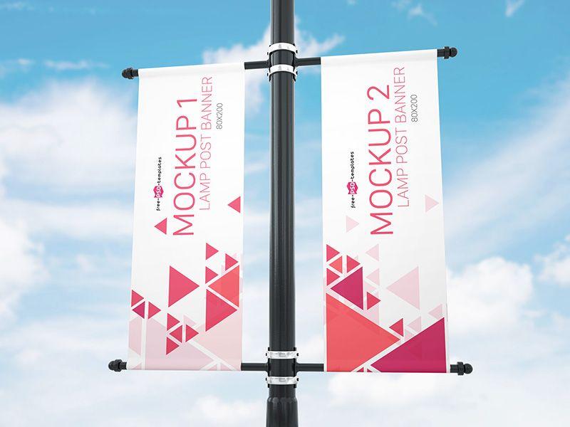 Free Lamp Post Banner Mock Up In Psd Banner Standing Banner Design Website Banner