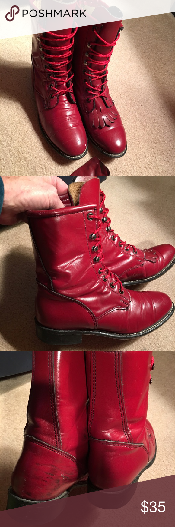 Red Leather Fringed Ankle Laced Boots. Sz 6.5 Scuff inside back heels (see pic). Otherwise great Condition. Sz 6.5. Thick Leather. Lace Up Leather Red Fringed Boots Shoes Lace Up Boots