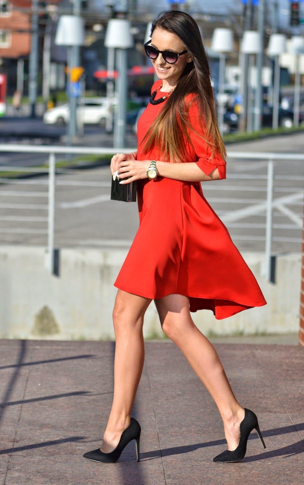 Simple sexy perfection ~ red dress, high heels and great legs ...