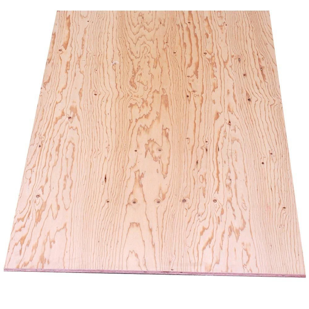 Sheathing Plywood Common 3 8 In X 4 Ft X 8 Ft Actual 0 344 In X 48 In X 96 In 19837 The Home Depot Sheathing Plywood Types Of Plywood Plywood