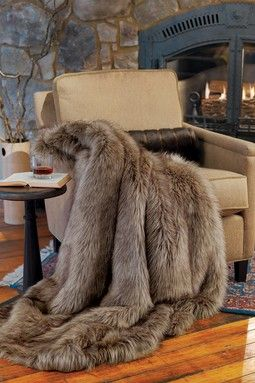 Limited Edition Faux Fur Large Throw Wolf