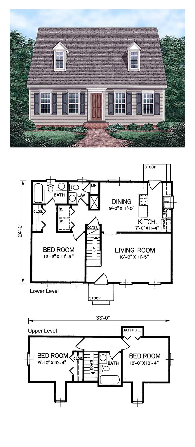 Narrow Lot Style House Plan 45336 With 3 Bed 3 Bath Cape Cod