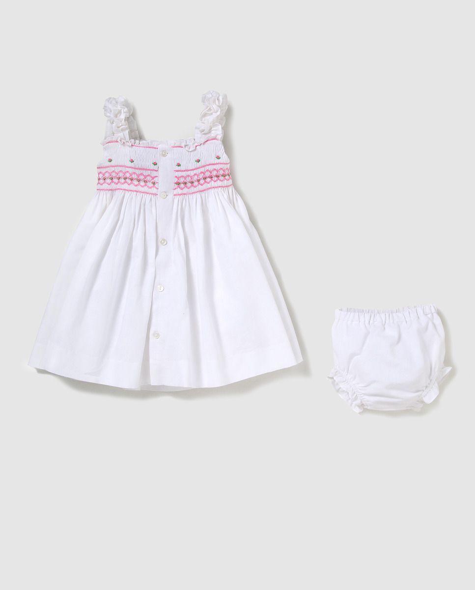 ccfcb837b Vestido de niña Tizzas en lino blanco | Smoking | Vestidos para ...