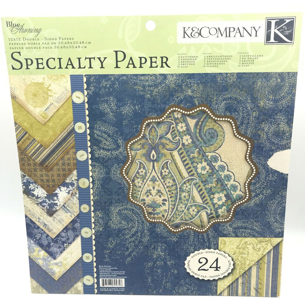 K&Company Specialty Paper Pack BLUE AWNING 24 Sheets ...