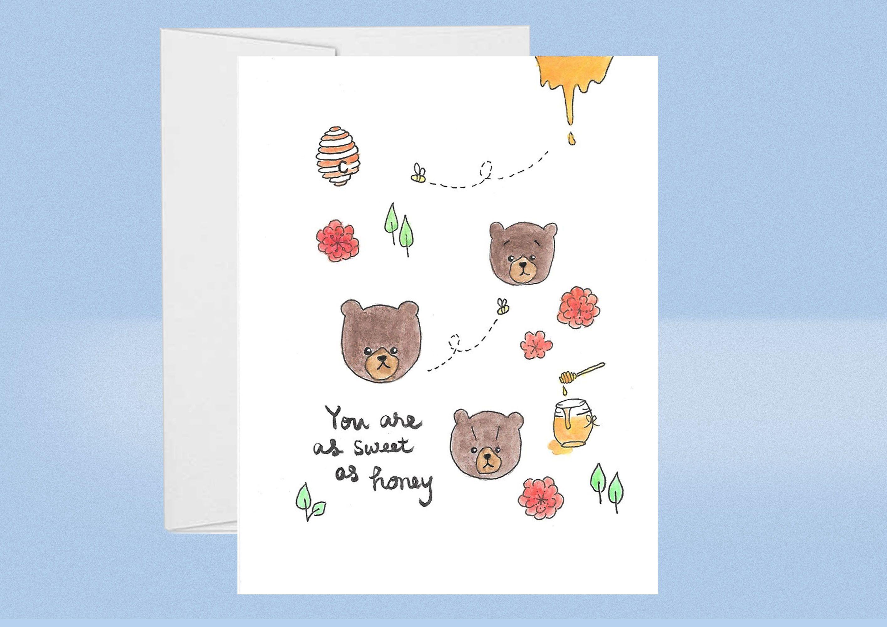 Handpainted Bear Birthday Card Etsy Anniversary Cards Handmade Cards Greeting Cards Handmade