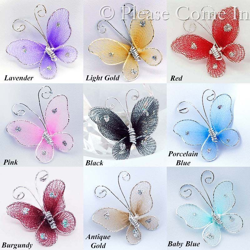100 Stocking Nylon Butterfly 2.5cm Wedding Decorations