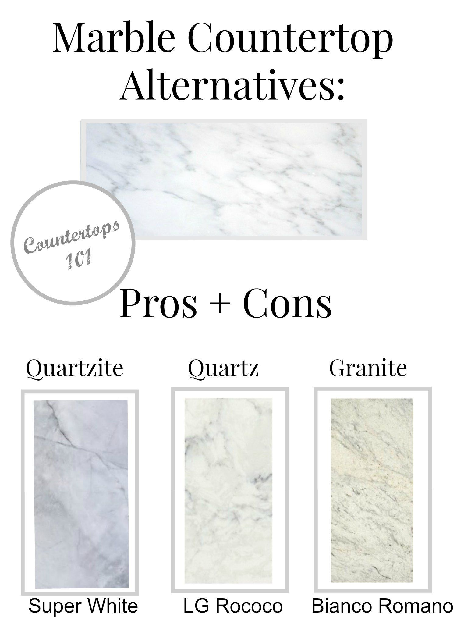 Marble Countertop Alternatives Pros And Cons From Quartzite , Quartz, And  Granite.