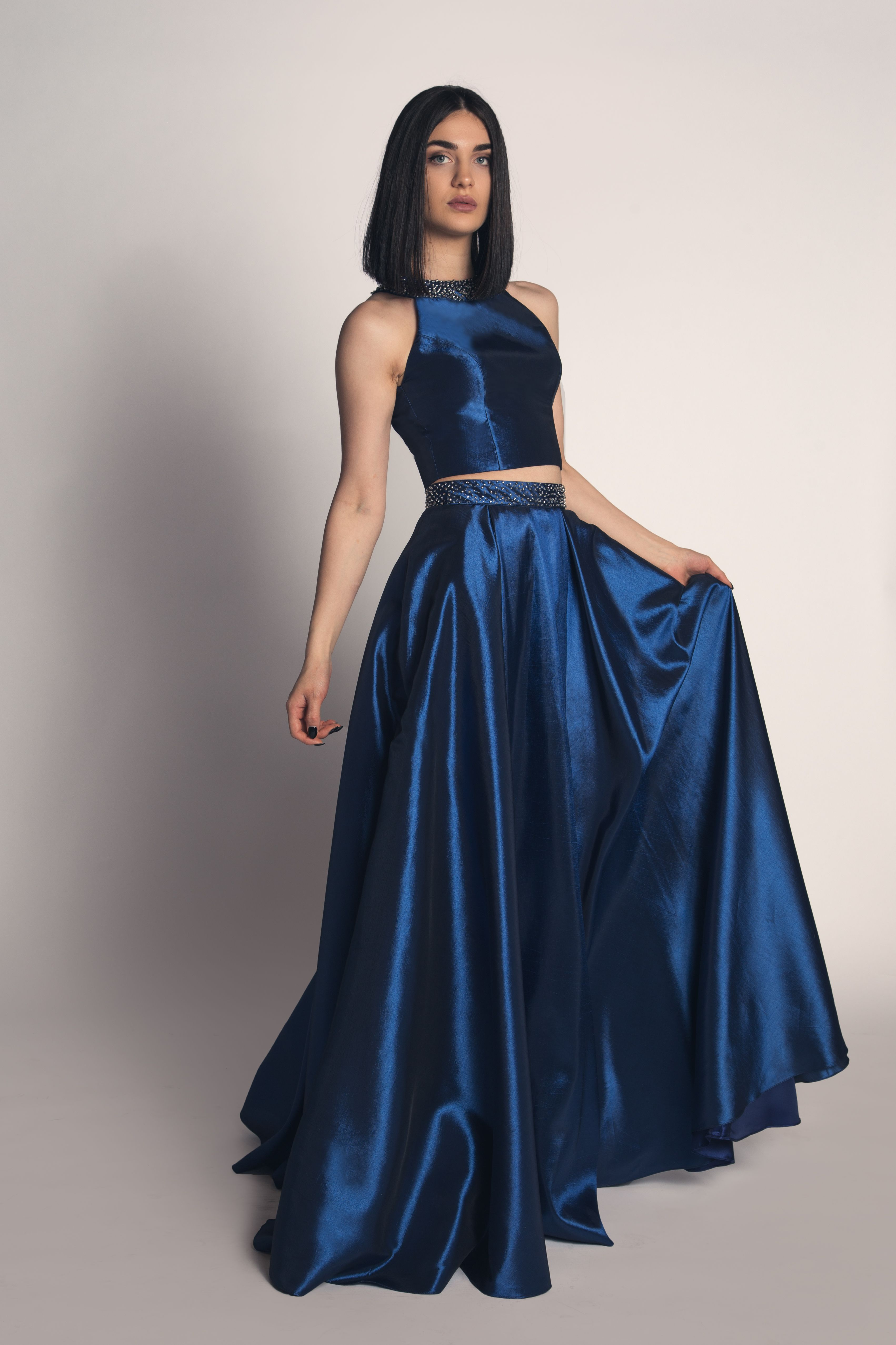 Blue Two Piece Prom Dress Halter Top Piece Prom Dress Formal Dresses Dresses To Wear To A Wedding [ 5106 x 3404 Pixel ]