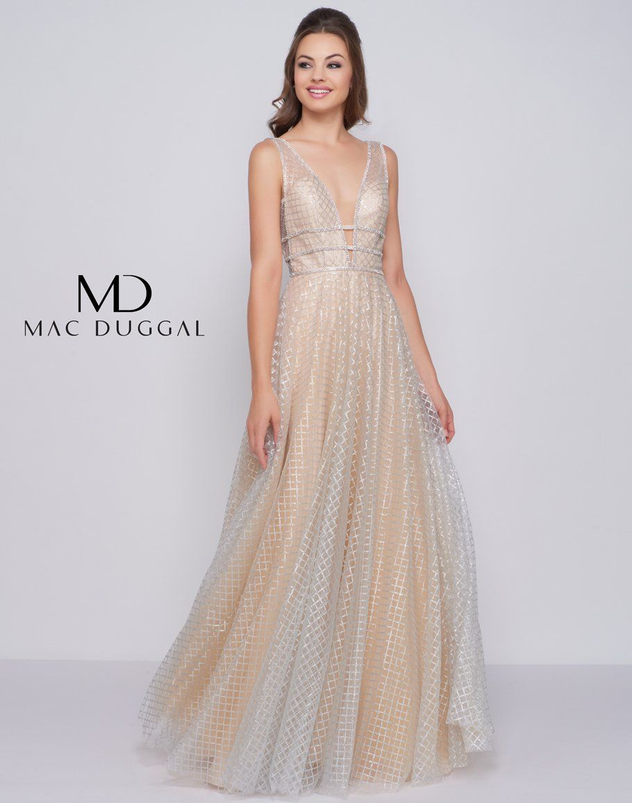 22a34d310a5 Mac Duggal Long Plunging V-Neckline Prom Dress Evening Gown - The Dress  Outlet Nude