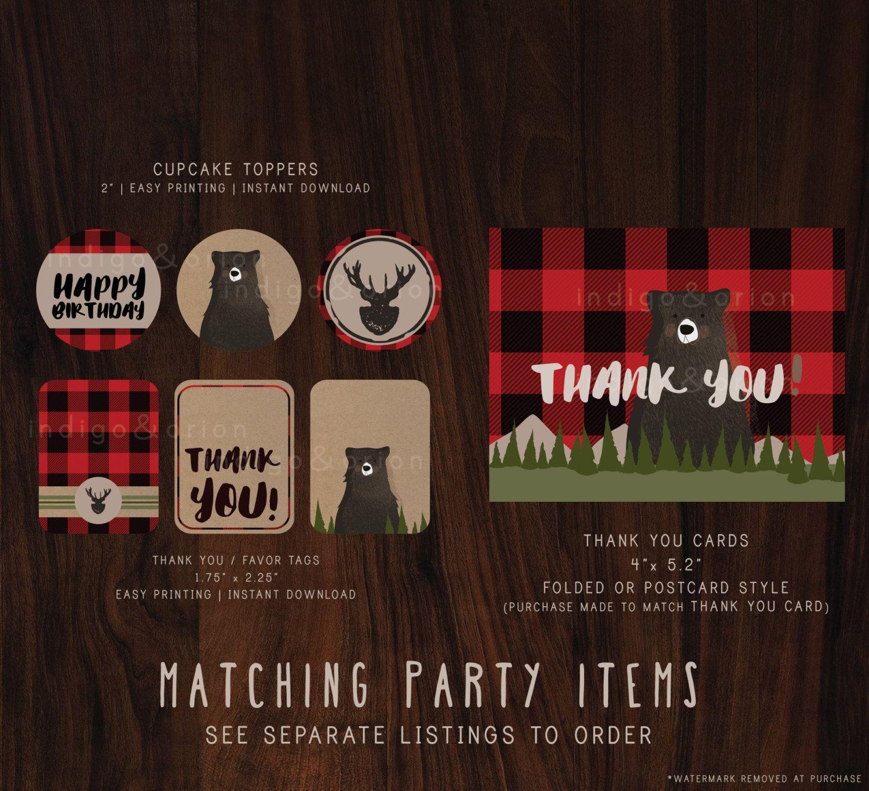 Lumberjack Birthday Invitation, Woodland Bear illustration, 1st ...