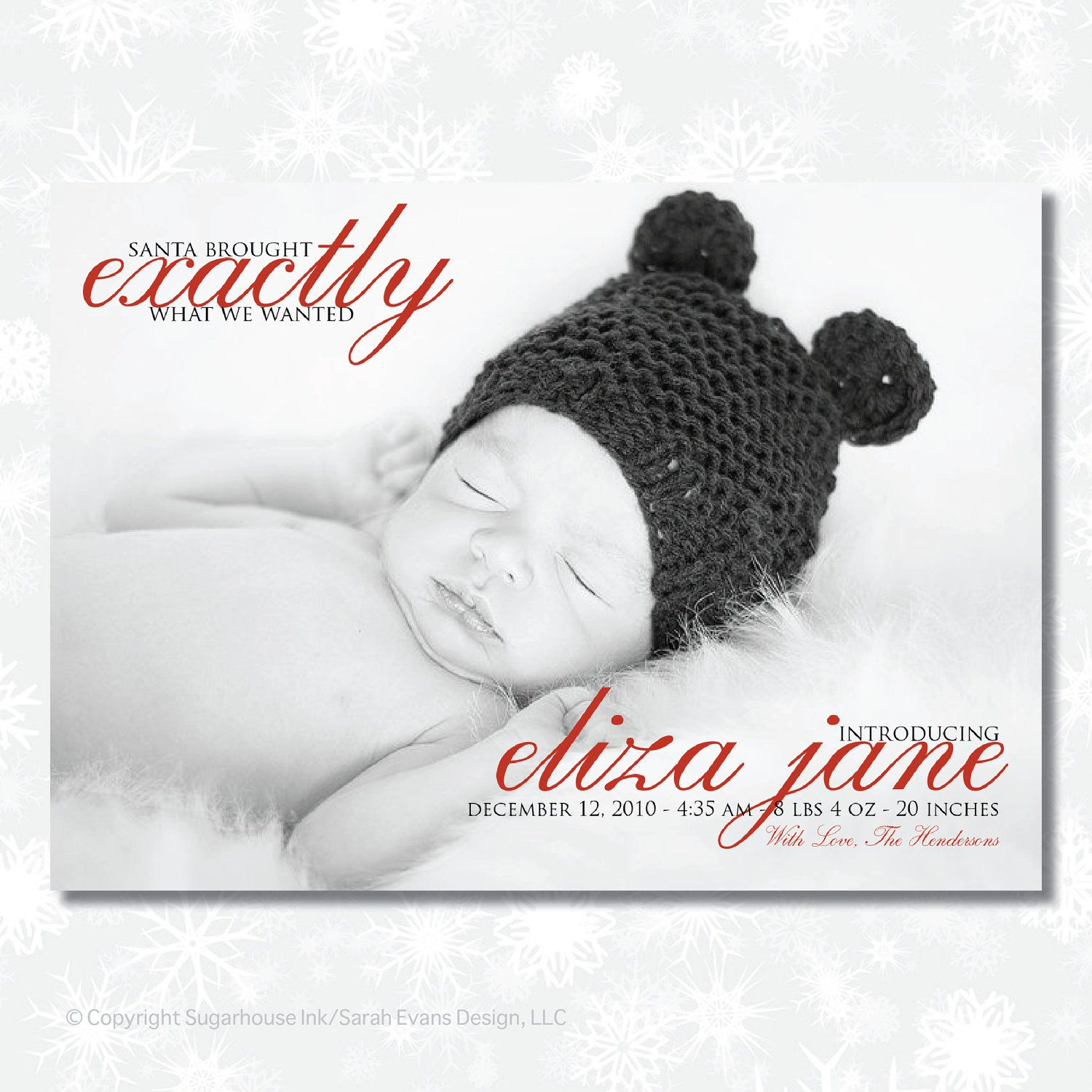 Christmas Birth Announcement Santa Brought – Holiday Birth Announcements