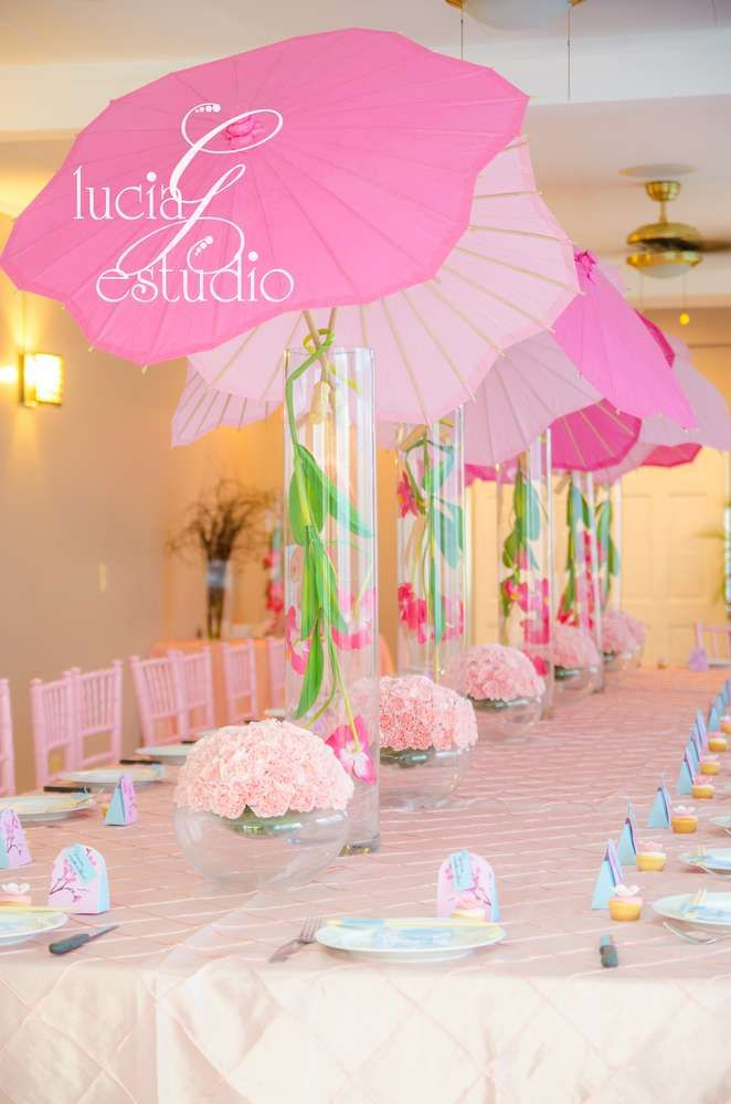 Girl baby shower baby shower party ideas baby showers for Baby shower umbrella decoration ideas