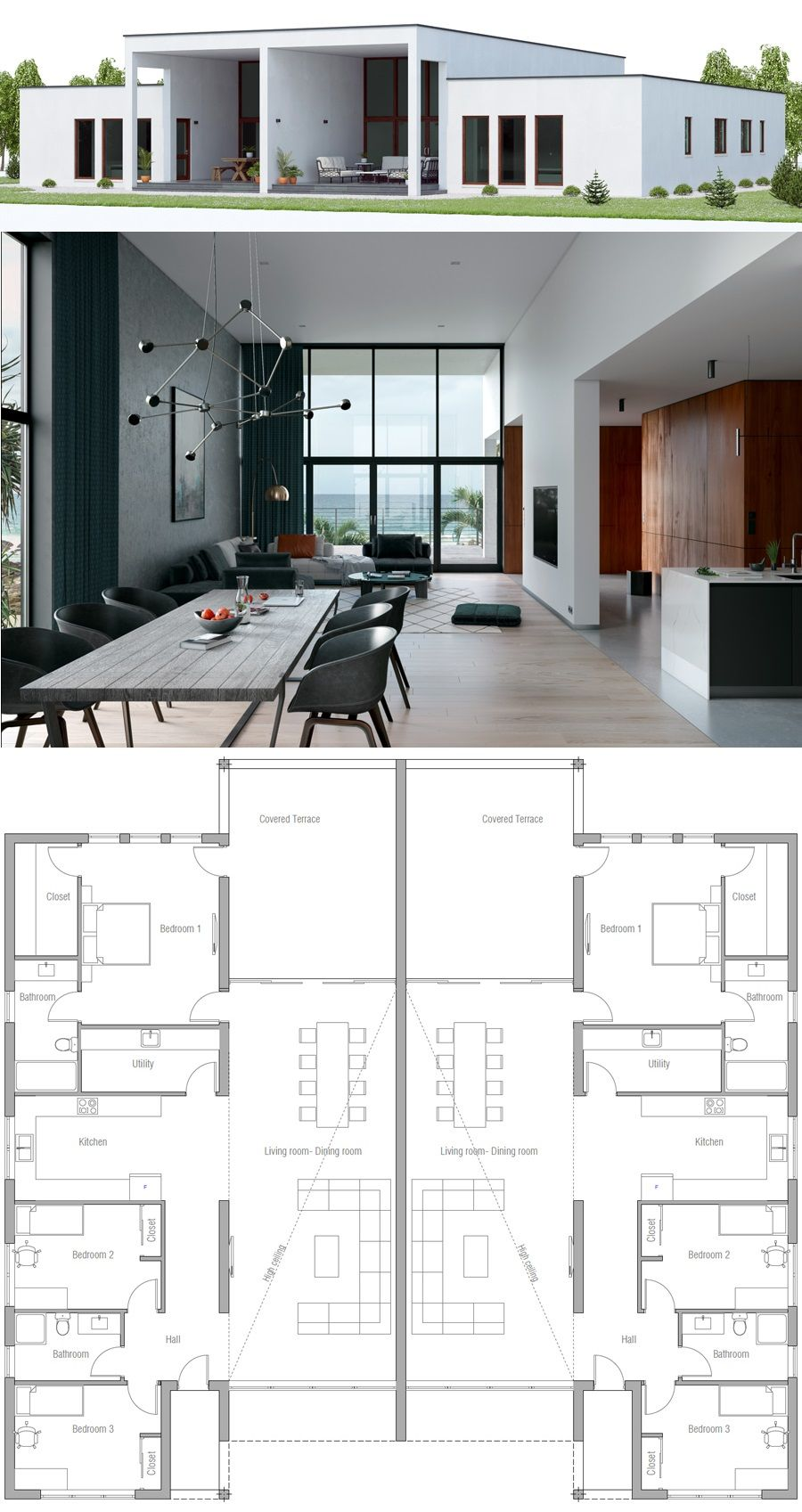 Duplex House Plan Plan De Maison Jumelee Plan Maison Contemporaine Maison Duplex