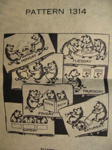 40s Laura Wheeler Designs Transfer Pattern 1314 Days Week Towels 3 Little Pigs