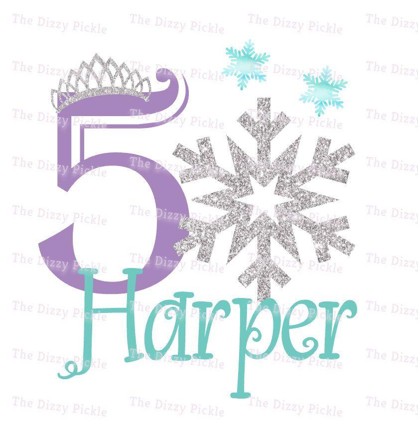 Fifth Birthday Snow Frozen Snowflake Silver Glitter Etsy Frozen Snowflake 5th Birthday Girls Snowflakes
