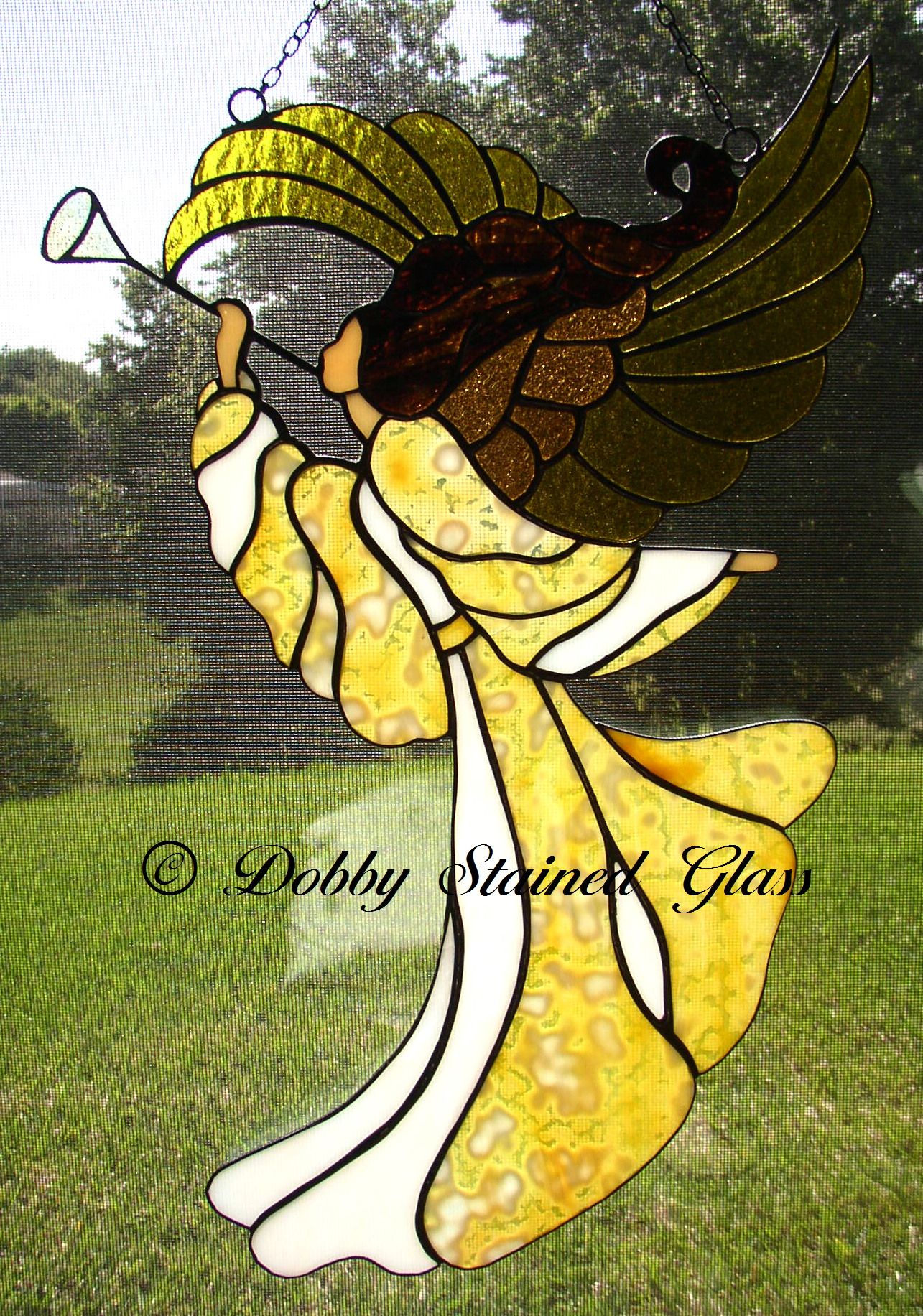 Stained Glass Panel - Angel of Triumph | Glaskunst. | Pinterest ...