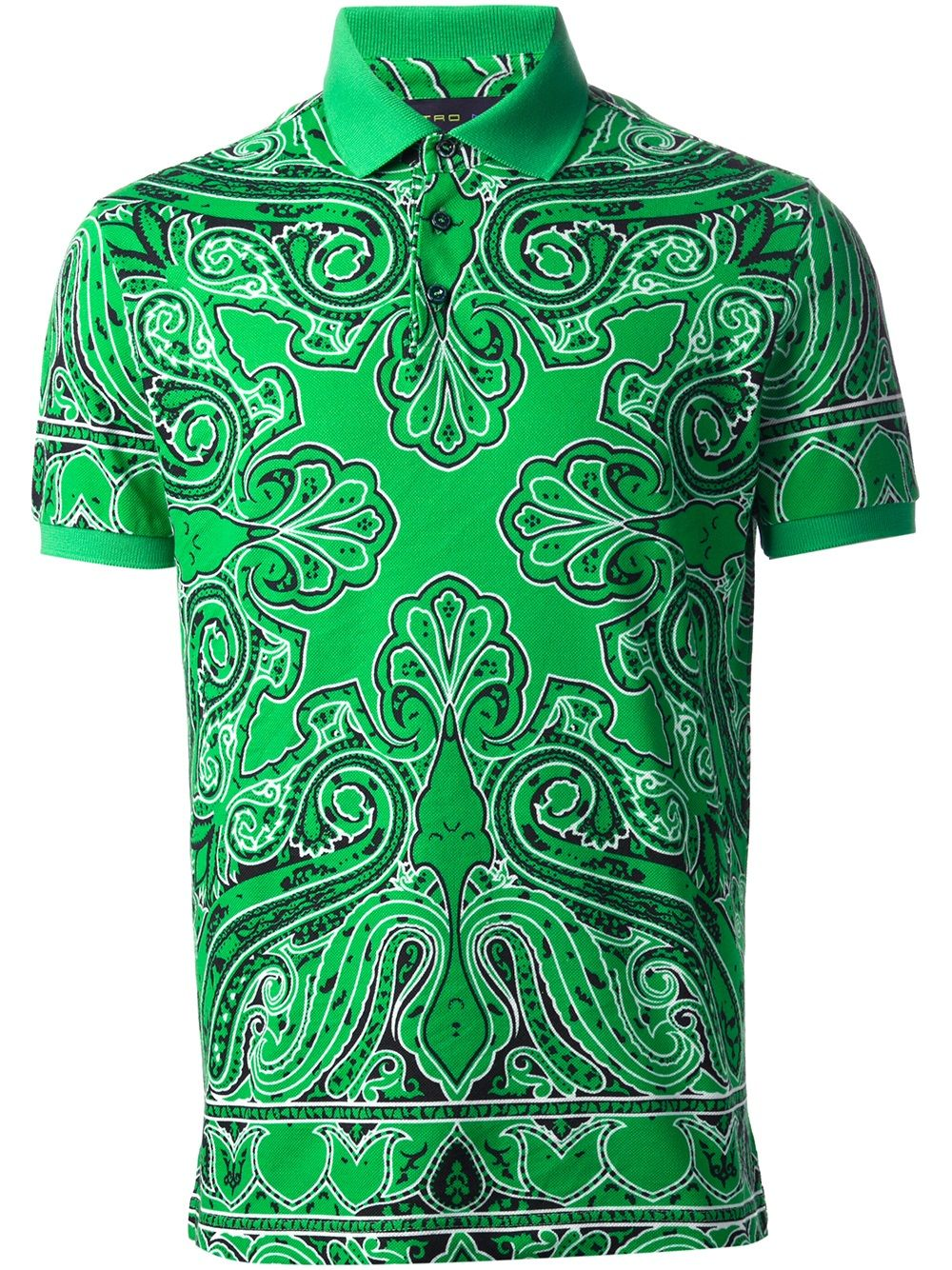 2015 new real camisa solid polo shirt mens fashion cool design short - Etro Camisa Polo Verde Estampada Fashion Clinic Farfetch Com Men S Polo Shirtsshirt