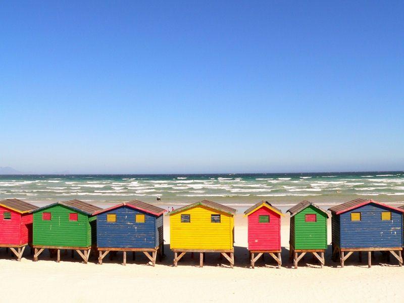 Cabanes de plage en Afrique du sud