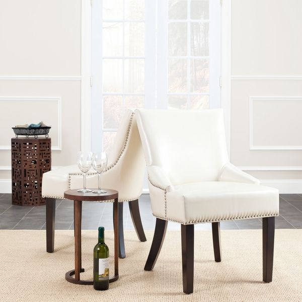 Safavieh Loire Cream Leather Nailhead Dining Chairs (Set Of 2)   Overstock  Shopping