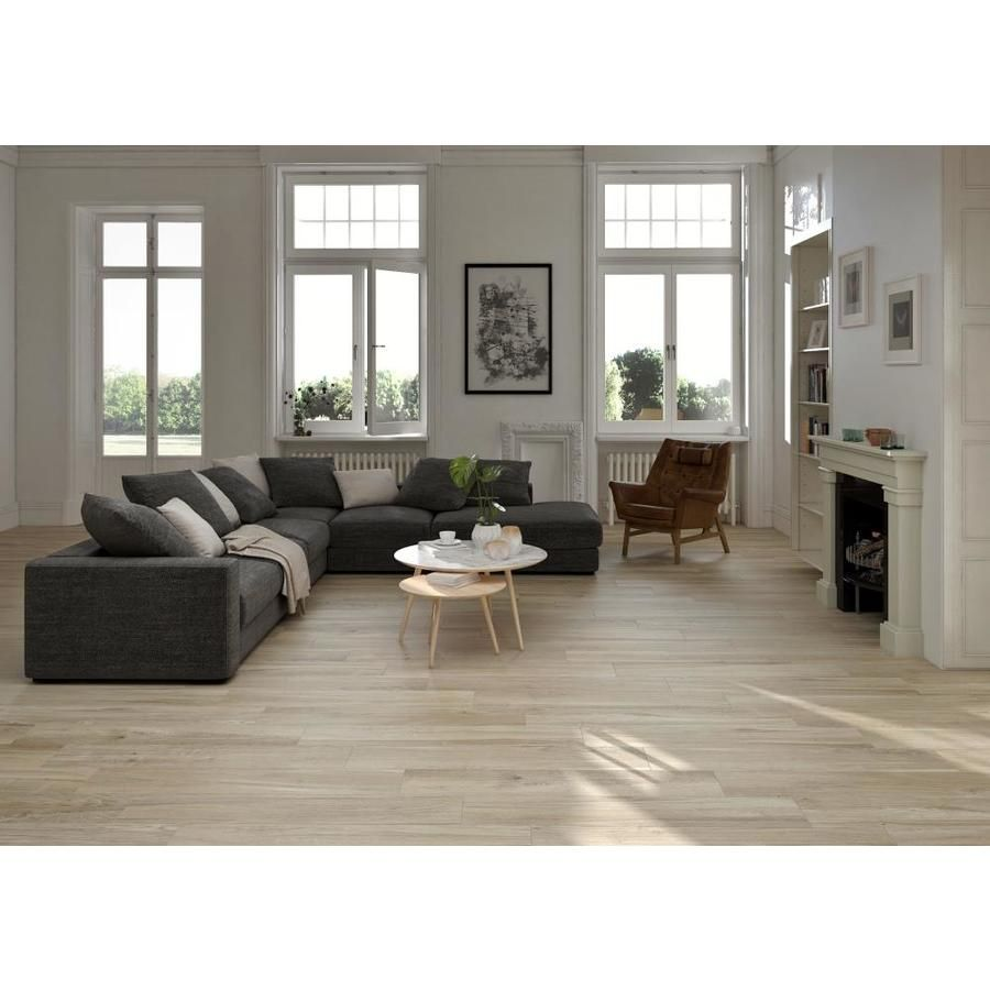 Ceramicas Tesany Rain Tree Beige 9 In X 47 In Glazed Porcelain Stone Look Floor Tile Lowes Com Flooring Wood Look Tile Home