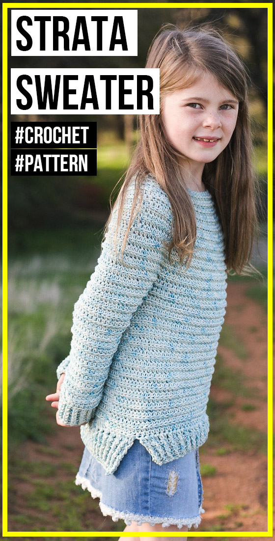 Photo of crochet Strata Sweater pattern