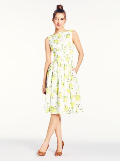 c2994ac2713 lyric dress - yellow floral print on white - Kate Spade